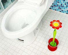 Novelty Sunflower Style Flower Toilet Brush Closet Bowl Cleaning Brush w/ Holder
