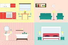 House rooms illustration by lavinialorena on Creative Market