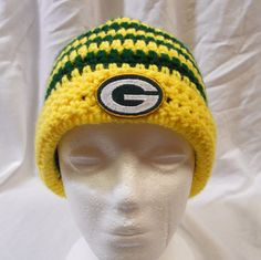 ac5a68ba5f5a8 Green Bay Packers Football Inspired Crochet Hat with by CDBSTUDIO, $29.99  Football Socks, Packers