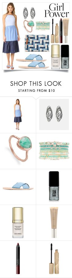"""""""Girl Power"""" by camry-brynn ❤ liked on Polyvore featuring English Factory, Avenue, Monica Vinader, Hipanema, Ancient Greek Sandals, JINsoon, Dolce&Gabbana, Stila, NARS Cosmetics and Loewe"""