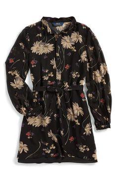 Girl's Ralph Lauren Chiffon Shirtdress