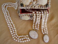 SALE Cameo ivory fresh water pearls jewelry set by Mpoulitsa Pearl Jewelry, Pearl Necklace, Jewelry Sets, Unique Jewelry, Water Pearls, Pearl Set, Selling On Ebay, Fresh Water, Ivory