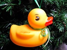 Mama Rubber Ducky Christmas Ornament with Green Ribbon bow and Hanger   Wyverndesigns - Seasonal on ArtFire