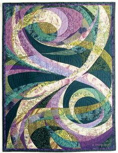 I love the colors she used, the swirls and her theme in this art quilt Intersection, Hoffman Challenge, Teresa M. Hodgson http://www.spiralt.com/intersection.html