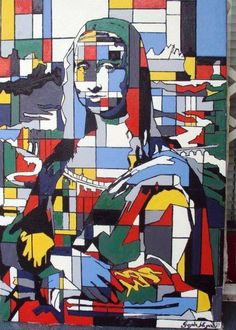 Mona Lisa in The Style of Mondrian, pop art. Art Plastic, La Madone, Mona Lisa Parody, Mona Lisa Smile, Piet Mondrian, Poster S, Arts Ed, Arte Pop, Italian Artist