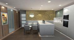 Diseño cocina Santos, muebles en blanco unos y otros madera clarita