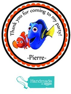 Finding Nemo Party Favors Themed Personalized Birthday Party Favors- Custom Birthday Party Favor Stickers - Treat Tag Toppers- 24 Stickers Popular Size 2.5 Inches. Peel- and- Stick Stickers from Custom Party Favors, Handmade Craft , and Educational Products https://www.amazon.com/dp/B01HQDI546/ref=hnd_sw_r_pi_dp_pDOFxbMYRNG6T #handmadeatamazon