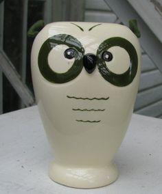 ca 1960s Ceramic OWL Coin Bank. Made in Japan by ARTAMOUNT  of NY. Kitschy Artamount Owl Bank