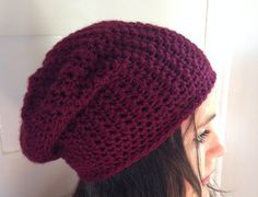 Womens slouchy Beanie. Crochet Winter Hat. Marsala Hat.