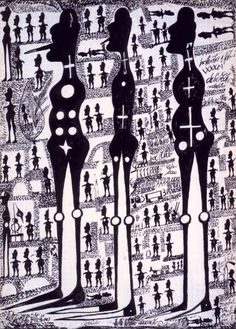 """Carlo Zinelli, Tre """"pinocchi"""" neri con piedi a punta inv.689/A (fronte), 1967-68, tempera su carta, cm 70x50, Fondazione culturale Carlo Zinelli, San Giovanni Lupatoto"""