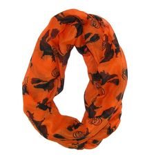 Show your Halloween spirit with this fun witch loop scarf. It is perfect to use to accessorize your fall wardrobe, or a great addition to a holiday party outfit.
