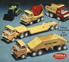 Tonka Construction Set 1972 – Remembering the Tonka Trucks, Tonka Toys, Semi Trucks, Antique Toys, Vintage Toys, Vintage Antiques, Childhood Toys, Childhood Memories, Toys R Us Kids