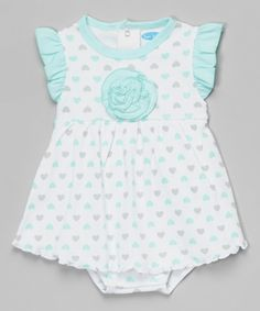 Look at this bon bébé Mint & Gray Heart Angel-Sleeve Skirted Bodysuit - Infant on #zulily today!
