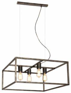 Hanglamp zwart, koper of roest vierkant landelijk E27x4 600mmx600mm