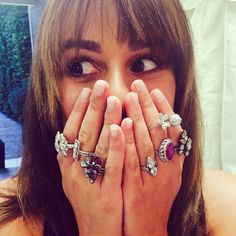 Pin for Later: 33 of Lea Michele's Sweetest, Sexiest Social Media Snaps She showed off loads of Lorraine Schwartz jewels during a visit from her stylist. Lorraine Schwartz, Brunette Ambition, Lea Michele Glee, Rachel Berry, Women Accessories, Diamond Earrings, Jewels, Celebrities, Beautiful