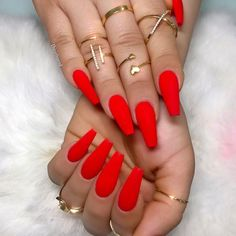 Your nails will appear fabulous! In general, coffin nails are also thought of as ballerina nails. Cute pastel orange coffin nails are amazing if you want to continue to keep things chic and easy. Marble nail designs are perfect if… Continue Reading → Red Acrylic Nails, Coffin Nails Matte, Dark Nails, Acrylic Nail Designs, Long Nails, Red Shellac Nails, Red Glitter Nails, Coffin Nail Designs, Coffen Nails