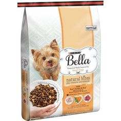 Purina Bella Natural Bites Plus Vitamins and Minerals with Real Chicken and Beef and Accents of Sweet Potatoes and Spinach Adult Dry Dog Food, 12 lb Bag