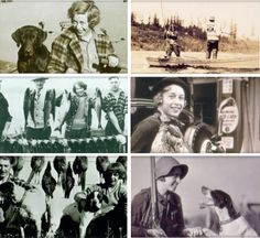 Montage of Stine Bauer, wife of Eddie Bauer. She looked like a totally awesome lady. Surrounded by dogs and wildlife!