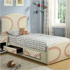 Baseball bed Love this love this!!! Have to think of a way to paint the boys beds like this