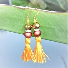 Orange Tassel Earrings, Mint Green Tassel Earrings, Hand Painted Copper Bead Rondelle Spacer & Electroplate Glass Copper Plated Bead - OOAK by BrownJewels on Etsy