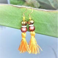 Orange Tassel Earrings, Mint Green Tassel Earrings, Hand Painted Copper Bead Rondelle Spacer & Electroplate Glass Copper Plated Bead - OOAK by BrownJewels on Etsy