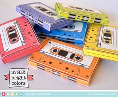 Cassette Tape Boxes - Retro Style - perfect for gift card holders, party favor boxes, printable PDF kit - INSTANT download
