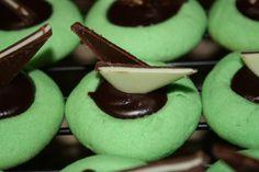 Mint chocolate thumbprints