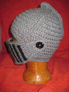 Knight Helmet Hat Men's Hat crochet Helmet by KnitCrochetbyMarina, 29.00