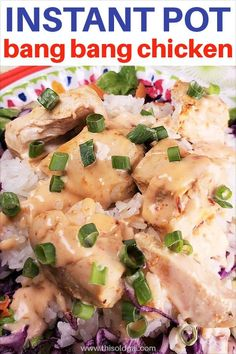 Creamy Spiced Pressure Cooker Bang Bang Chicken can be made with Coconut Rice at the same time. Tender chicken cooks in a spicy broth.