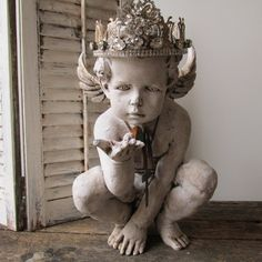 Cherub statue painted white distressed French by AnitaSperoDesign