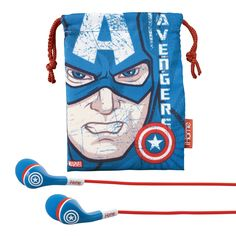 eKids Marvel Avengers Noise Isolating Earphones with Travel Pouch, by iHome - MC-M152