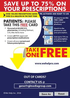 Hello Facebook Friends! Here is the discount card I have been speaking about with you guys over the last few days. SAVE UP TO 75% on prescriptions the average savings is 62%. Someone please try it. We are trying to get testimonials. go to: https://wehelprx.com/wehelp587