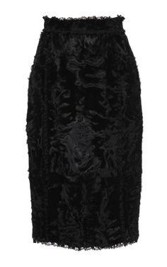 DOLCE & GABBANA     -                            Lamb Fur Pencil Skirt