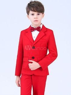 41095ebd66a Red Ring Bearer Outfit Wedding Boys Suits Tuxedo Kids Formal Wear 4 Piece  #Outfit,