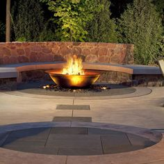 Rock Firepit With Rock Seat Wall Design Ideas, Pictures, Remodel, and Decor