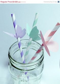 Butterfly Toppers For Paper Straws Party Decoration Flags Retro Soda