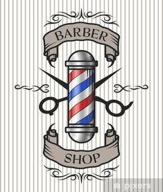 Illustration of Barber shop emblem. Barber pole,scissors and ribbon for text in an old vintage style. vector art, clipart and stock vectors. Barber Poster, Barber Logo, Barber Shop Pole, Barber Shop Decor, Black Barber Shops, Salon Design, Salon Interior Design, Design Design, Cafe Design