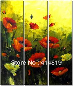 Free Shipping Paintings High Quality 100% Handmade Modern Abstract Art Red Flower Oil Painting Poppy Flower on Canvas MF19