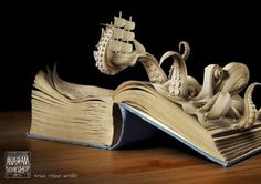 Octopus coming out of the book