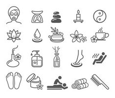 Spa Massage Therapy Skin Care & Cosmetics Services Icons. Vector – kaufen Sie diese Vektorgrafik und finden Sie ähnliche Vektorgrafiken auf Adobe Stock | Adobe Stock