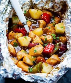 12 Flavorful Foil Pack Recipes - Grilled Pineapple Chicken Foil Packets