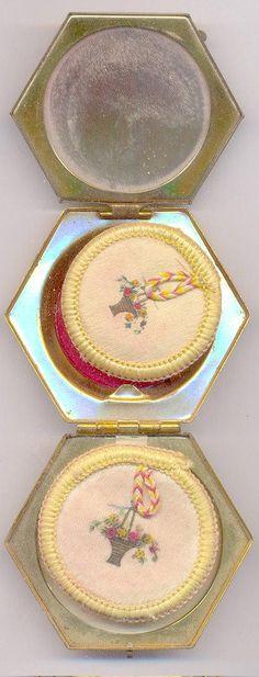 Houbigant Vintage Powder Compact and Puffs♡♡♡♡♡ Lipstick Case, Lipstick Holder, Powder Lipstick, Vanity Cases, Wonderful Flowers, Modern Wardrobe, Powder Puff, Hexagon Shape, Flower Basket