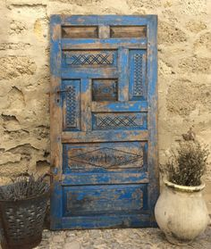 Decorative Rustic Old Wood Door,Antique Vintage Door,Primitive Antique Blue Door
