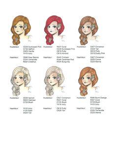 Gezichts- en haarkleur voorbeelden Promarkers. Haarkleur van licht naar donker nr. 3