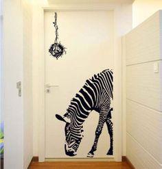 Huge Zebra Wall Decals Black Animal Print Vinyl Wall Stickers Home DecorationT33