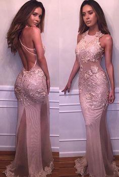Appliques Halter Backless Tulle Prom Dresses 2017