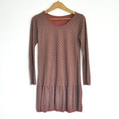 Vestido estampado teja y marrón