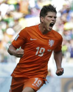 Klaas Jan Huntelaar, WK Voetbal 2014, Nederland-Mexico, 2-1, Fortaleza, Brazilië.