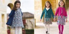 #kidsclothing grey/indigo hearts voile dress with plissé + brown/jade skirt + raspberry/indigo dress