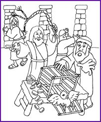 Jesus and Money Changers, Coloring Page